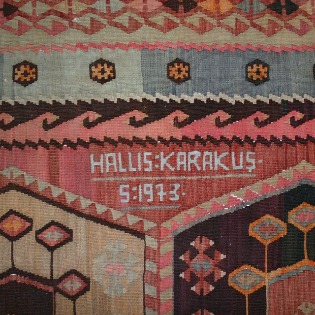 "Vintage Turkish Kilim Rug - 7' X 13'3"" - Image 3 of 8"