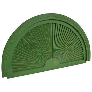 Sunburst Pediment with Green Paint