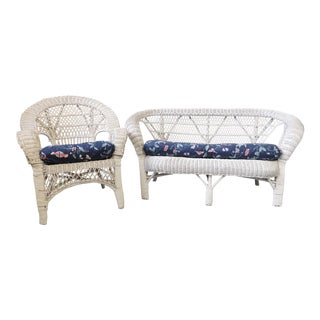 Vintage Wicker Loveseat and Chair Set