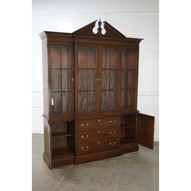 Image of Ethan Allen Georgian Court Solid Cherry Chippendale Style Breakfront