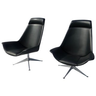 Danish Modern Jessen Black Swivel Chair - Pair
