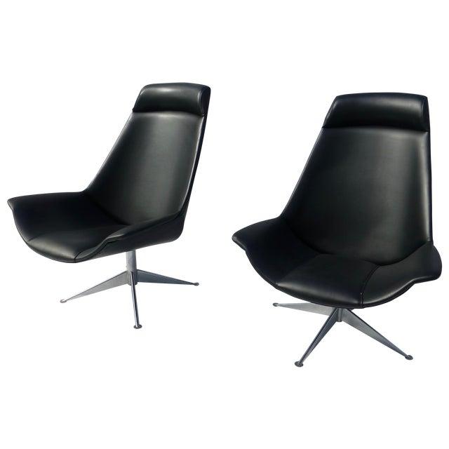 danish modern jessen black swivel chair pair chairish