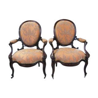 Portuguese Rosewood Arm Chairs - Pair