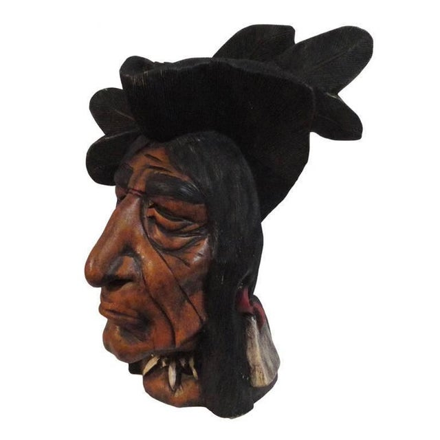 19th Century Original Painted Cigar Store Indian Head Carving - Image 1 of 7