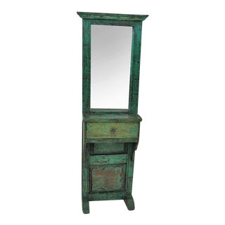 Green Painted Entry Mirror W/ Drawer
