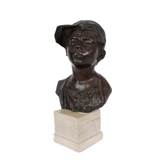 Boy Smoking Brass Bust Statue
