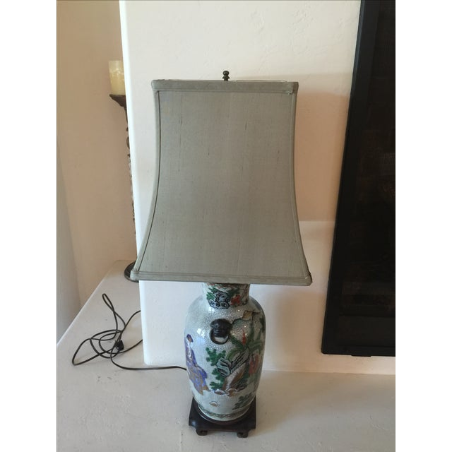 Vintage Asian Table Lamp With Wooden Base - Image 2 of 11