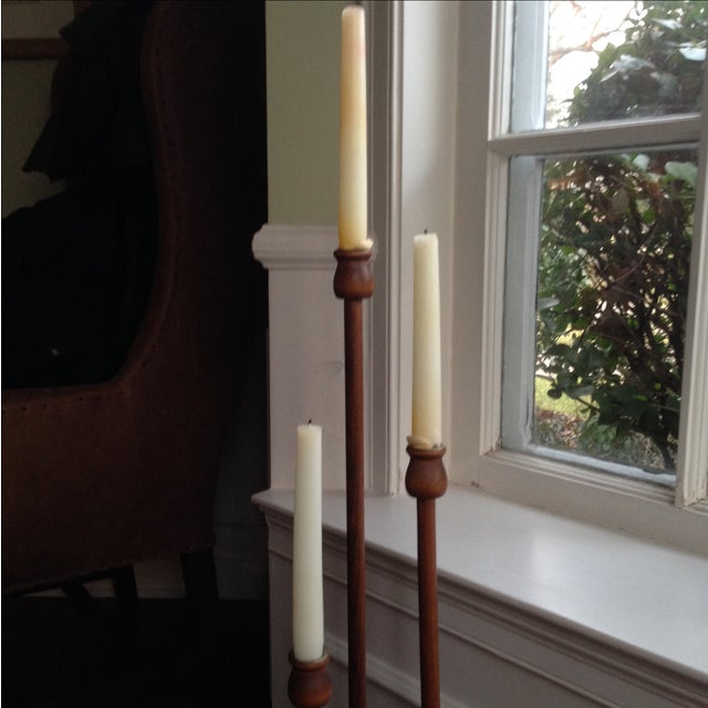 Image of Transitional Style Wood Candle Holder