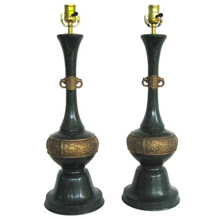 Green Metal Faux-Stone Chinoiserie Lamps - A Pair