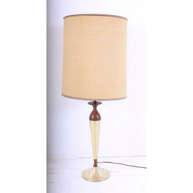 Mid-Century Walnut & Brass Lamps - A Pair - Image 6 of 7