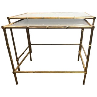 A Brass Nest Of Tables With Mirror Tops In Bamboo Form - A Pair