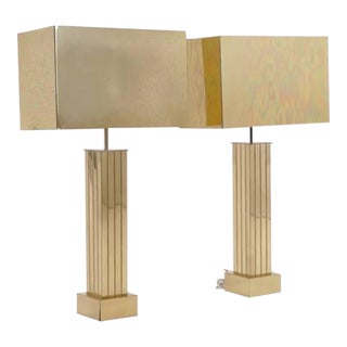 Stunning Pair of Curtis Jere Brass Table Lamps