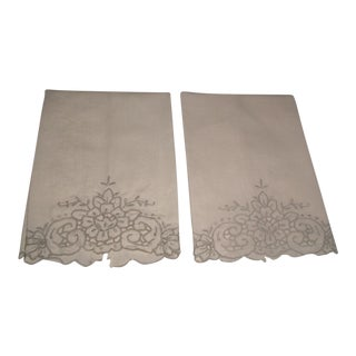 Embroidered Damask Hand Towels - A Pair