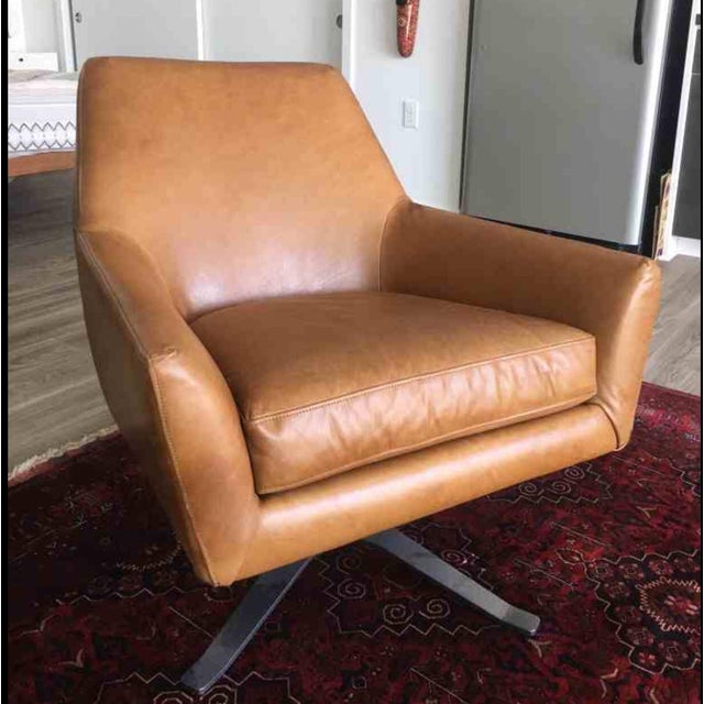 Image of Mid Century Swivel Leather Chair