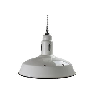 1940s Industrial White Barn Light