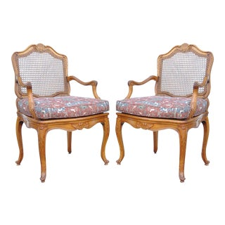 Vintage French Louis XV Style Carved Caned Back Fauteuil Arm Chairs - a Pair