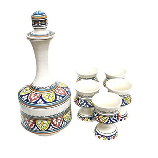 Moroccan Hand Painted Ceramic Carafe & Cups - Set of 6