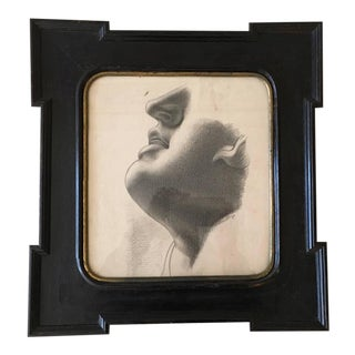 Neoclassical Framed Academic Figure Study Charcoal Drawing