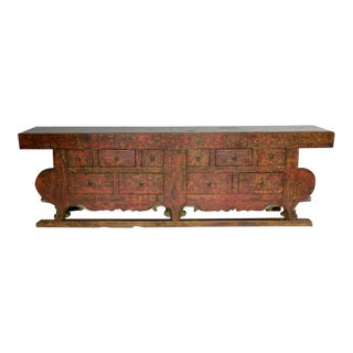 18th Century Large-Scale Chinese Red Altar Table