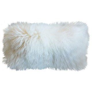 Natural White Mongolian Sheepskin Lumbar Pillow