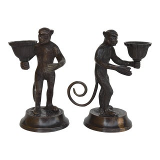 Antique Bronze Monkey Candle Holders - a Pair