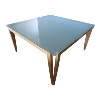 Mid-Century Modern Square Glass & Wood Table