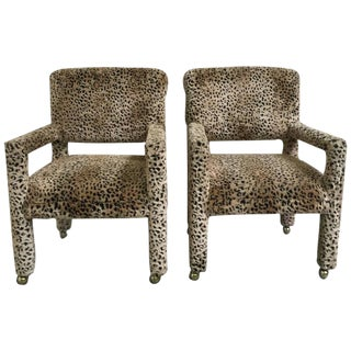 Pair of 1970s Leopard Parson Chairs in the Style of Milo Baughman