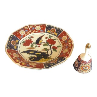 Vintage Imari Perched Bird Plate & Imari Bell