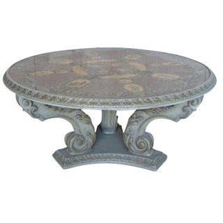 Italian Carved Coffee Table With Reverse Painted Top