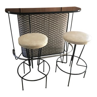 Mid-Century Modern Frederick Weinberg Wrought Iron Bar & Stools - Set of 3
