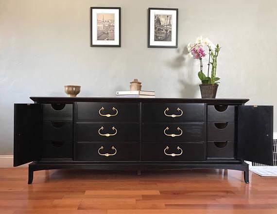 black thomasville solid wood dresser buffet sideboard image 3 of 10