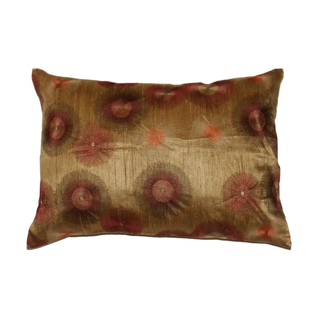 Image of Embroidered Pillow Cover With Gold Accents