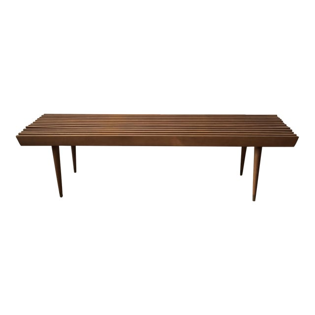 Mid-Century Yugoslavian Slat Bench With Peg Legs - Image 1 of 11