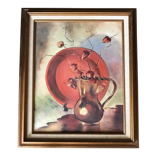 Vintage Still Life Painting of Chinese Lantern Flowers