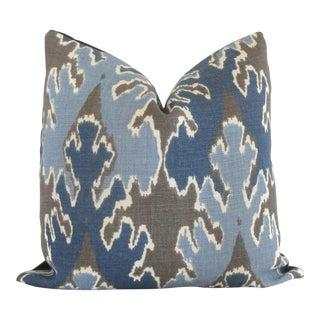 "20"" x 20"" Indigo Blue Ikat Pillow Cover Lee Jofa Square"