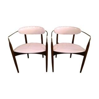 """Dan Johnson """"Viscount"""" Brass Arm Chairs - A Pair"""
