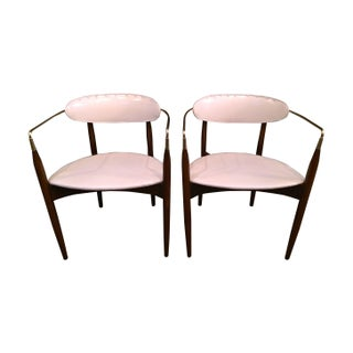 "Dan Johnson ""Viscount"" Brass Arm Chairs - A Pair"
