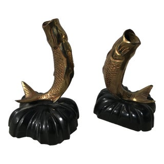 Vintage Brass Fish Bookends - A Pair