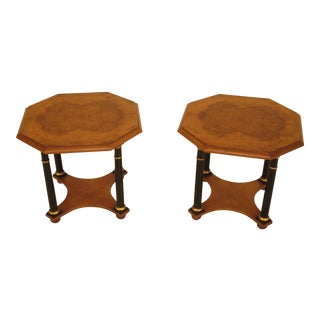 Baker French Empire Burl Walnut End Tables - A Pair