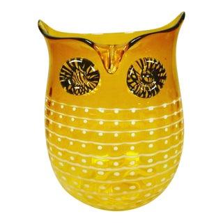 Mid-Century Amber Glass Owl Vase