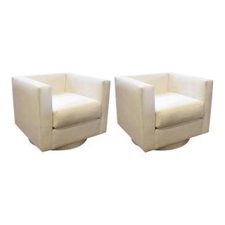 Harvey Probber White Upholstered Tuxedo Swivel Chairs - A Pair