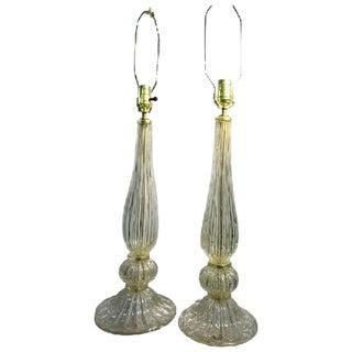 ELEGANT PAIR OF SEGUSO MURANO GLASS GOLD LEAF BULLICANTE GLASS TABLE LAMPS