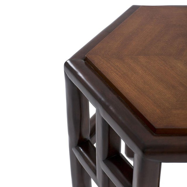 New Bamboo Hexagon Side Table - Image 4 of 10