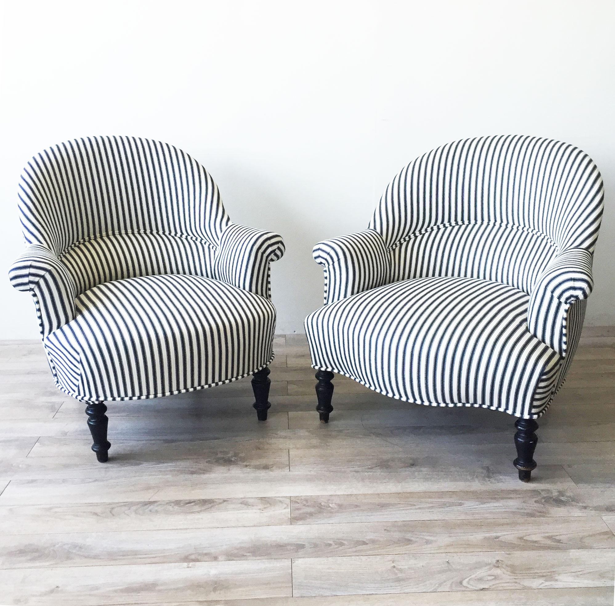 This napoleon iii club chair is no longer available - French Striped Napoleon Iii Armchairs Pair Chairish