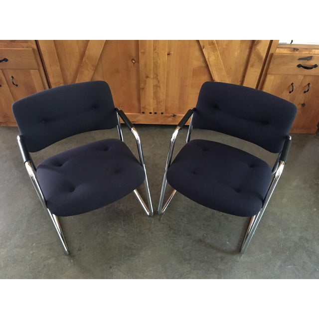 Mid-Century Cantilever Chrome Armchairs - A Pair - Image 3 of 9