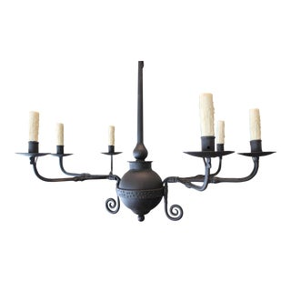 6 Candle Antique Italian  Hand Forged Iron Chandelier