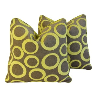 Lime Opuzen Cut Velvet Pillows - a Pair