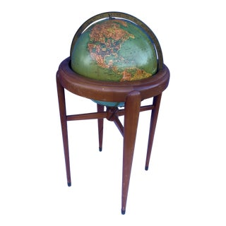 Antique Art Moderne Library Floor Globe