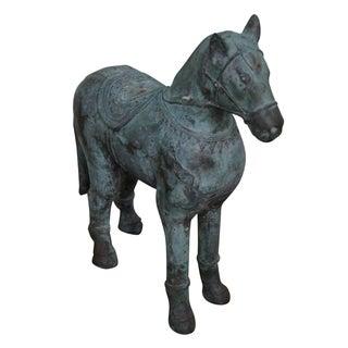 Antique Verde Bronze Chinese Horse Statue