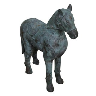 Antique Verde Bronze Chinese Horse Statue